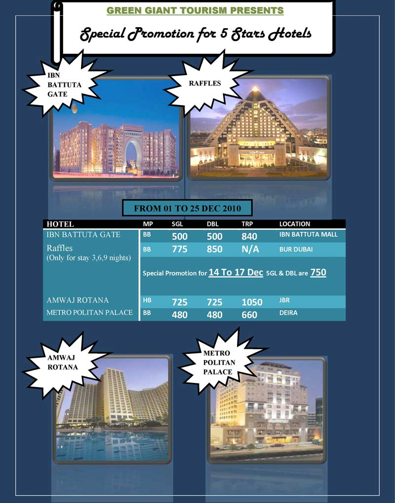 SPECIAL PROMOTION 5 Stars HOTELS